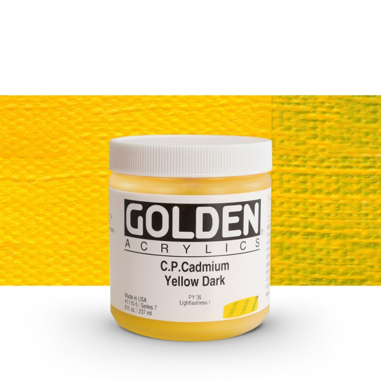 Golden : Heavy Body Acrylic Paint : 236ml : Pure Cadmium Yellow Dark