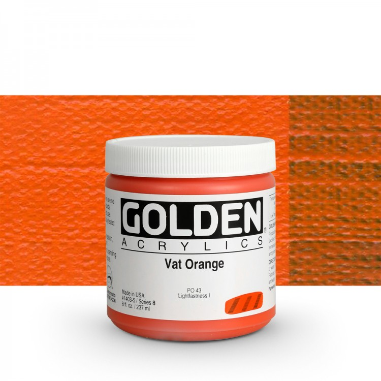 Golden : Heavy Body Acrylic Paint : 236ml : Vat Orange