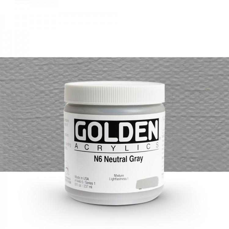 Golden : Heavy Body Acrylic Paint : 236ml : Neutral Grey No.6