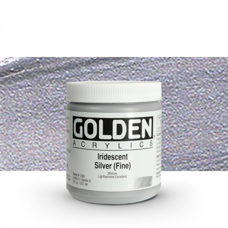 Golden : Heavy Body Acrylic Paint : 236ml : Silver Fine Iridescent