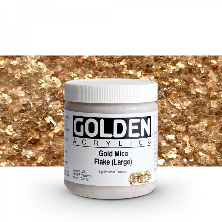 Golden : Heavy Body Acrylic Paint : 236ml : Gold Mica Flake Large Iridescent