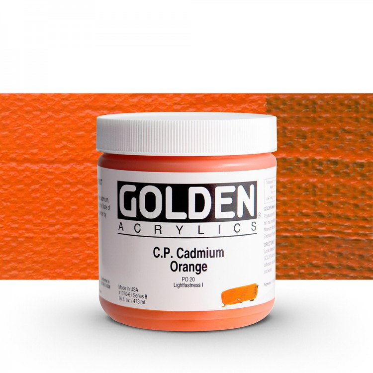 Golden : Heavy Body Acrylic Paint : 473ml : Pure Cadmium Orange
