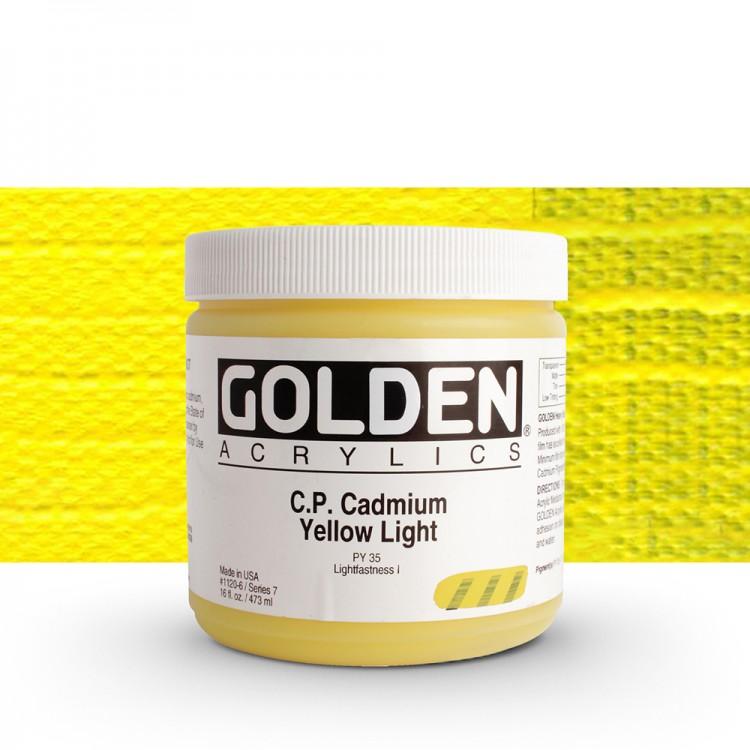 Golden : Heavy Body Acrylic Paint : 473ml : Pure Cadmium Yellow Light