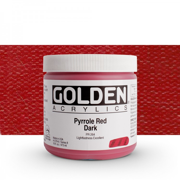 Golden : Heavy Body Acrylic Paint : 473ml Pyrrole Red Dark Viii New