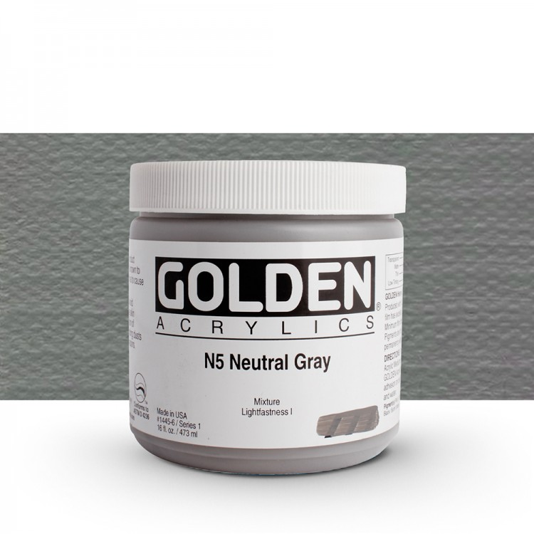 Golden : Heavy Body Acrylic Paint : 473ml : Neutral Grey No.5
