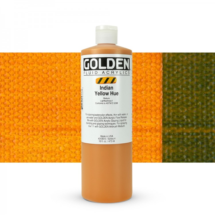 Golden : Fluid Acrylic Paint : 473ml (16oz) : Indian Yellow Hue