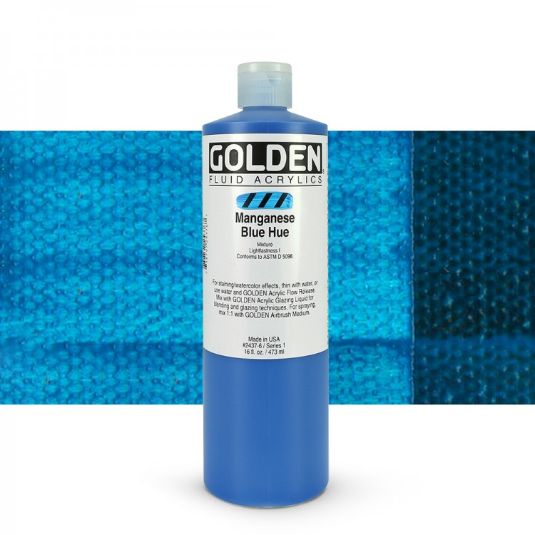 Golden : Fluid Acrylic Paint : 473ml (16oz) : Manganese Blue Hue