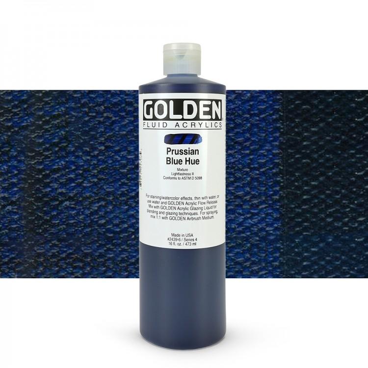Golden Acrylic : 473ml (16Oz) Bottle Fluid Prussian Blue (Hue)