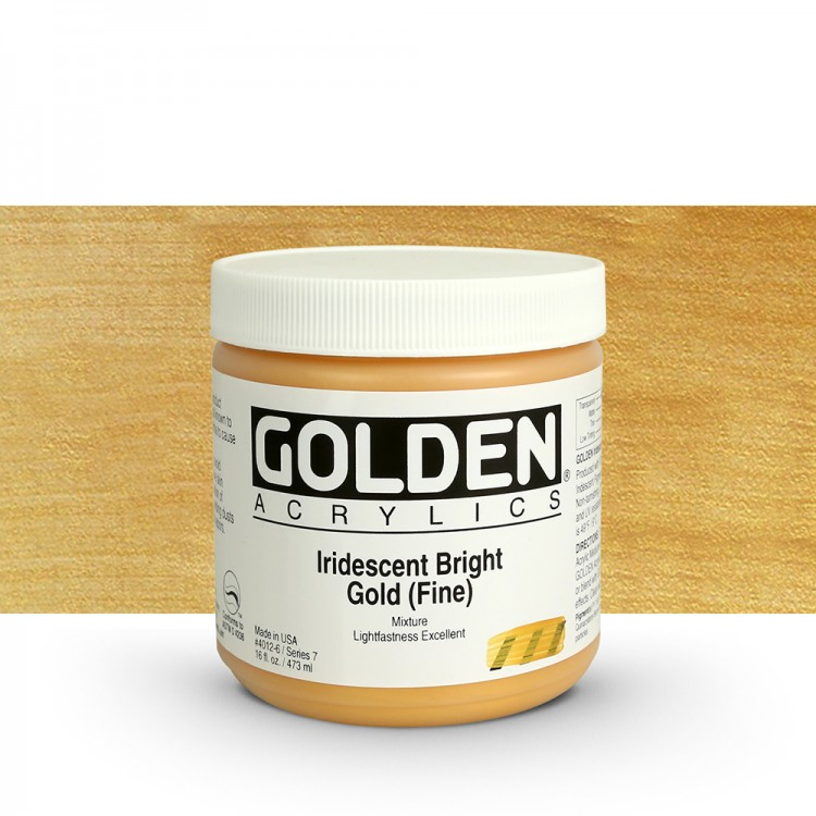 Golden : Heavy Body Acrylic Paint : 473ml : Bright Gold Fine Iridescent