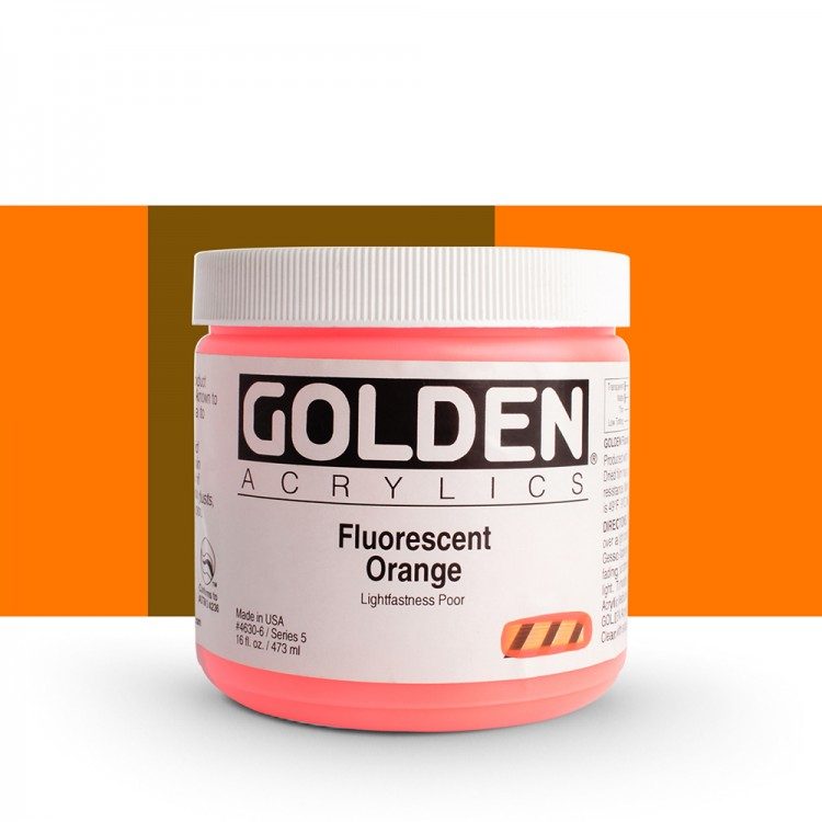 Golden : Heavy Body Acrylic Paint : 473ml : Orange *Fluorescent*