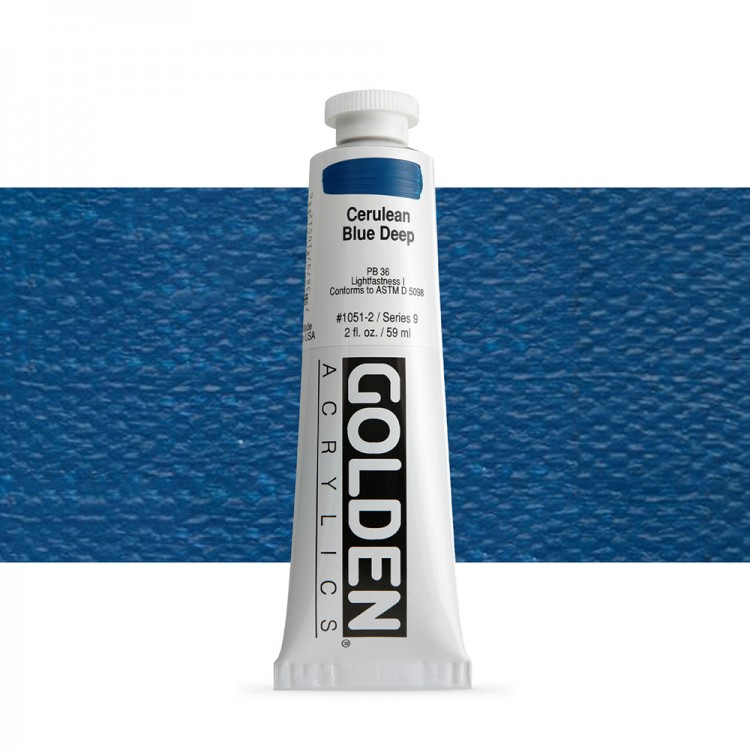 Golden : Heavy Body Acrylic Paint : 60ml : Cerulean Blue Deep