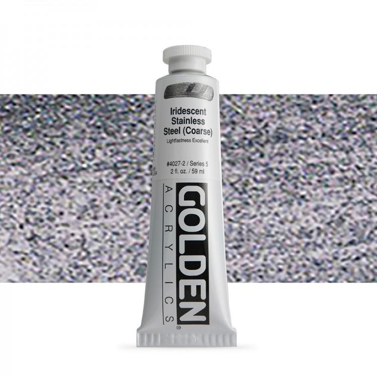 Golden : Heavy Body Acrylic Paint : 60ml : Stainless Steel Coarse Iridescent