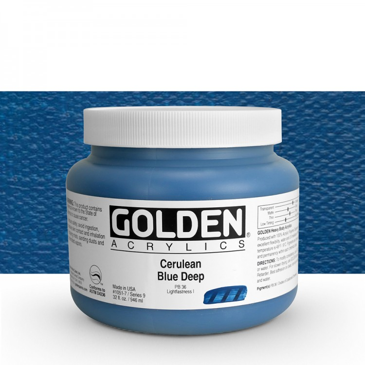 Golden : Heavy Body Acrylic Paint : 946ml : Cerulean Blue Deep