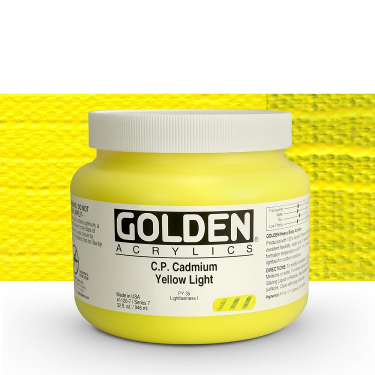 GOLDEN : HEAVY BODY ACRYLIC PAINT : 946ML : PURE CADMIUM YELLOW LIGHT : PLEASE ALLOW AN EXTRA WEEK FOR DELIVERY