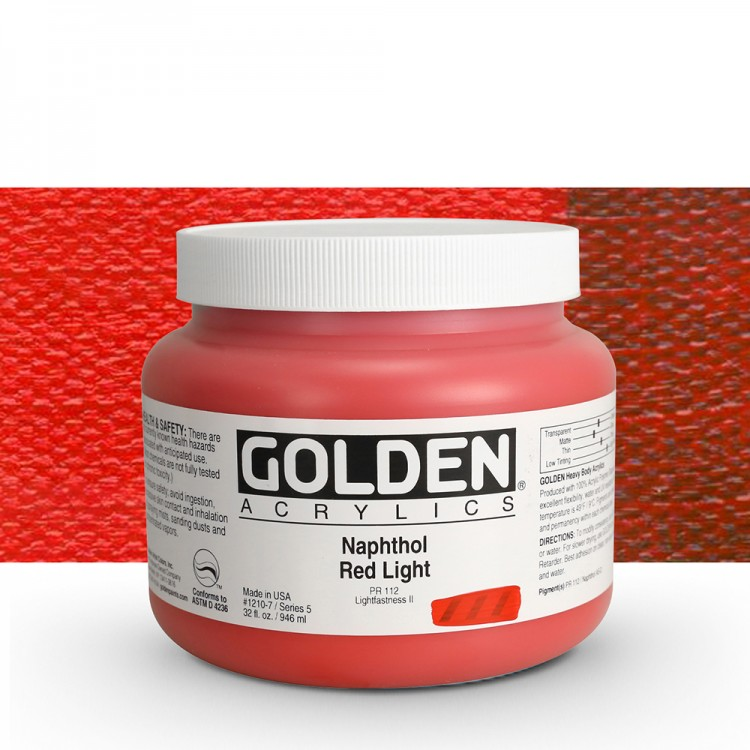 Golden : Heavy Body Acrylic Paint : 946ml : Naphthol Red Light