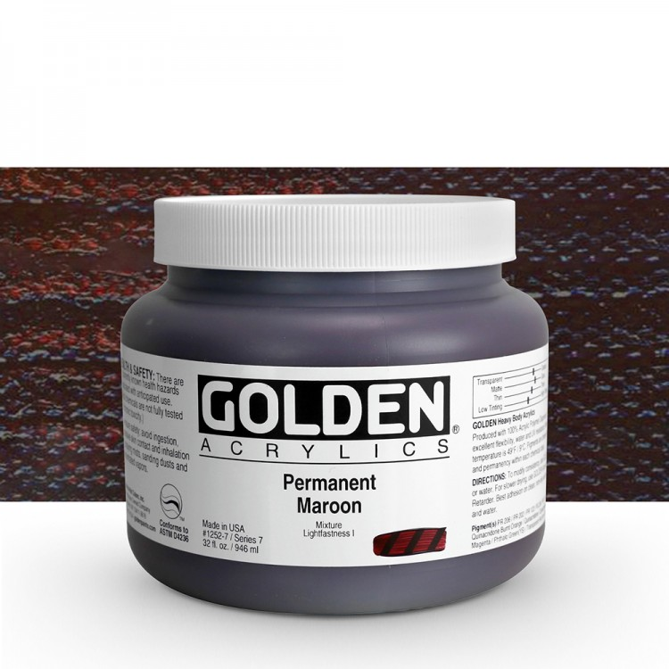 Golden : Heavy Body Acrylic Paint : 946ml Permanent Maroon Vii : Please allow an extra week for delivery