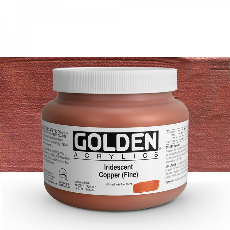Golden : Heavy Body Acrylic Paint : 946ml : Copper Fine Iridescent : Please allow an extra week for delivery