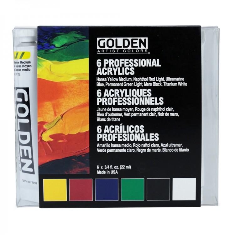 Golden : Heavy Body Acrylic Paint : Intro Set : 6x22ml