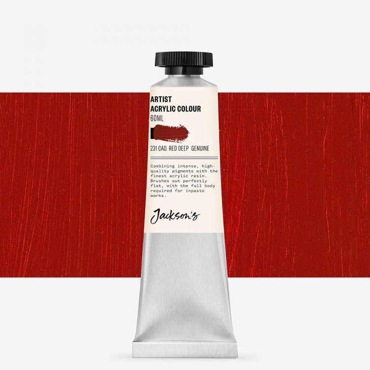Jackson's : Artist Acrylic Paint : 60ml : Cadmium Red Deep Genuine