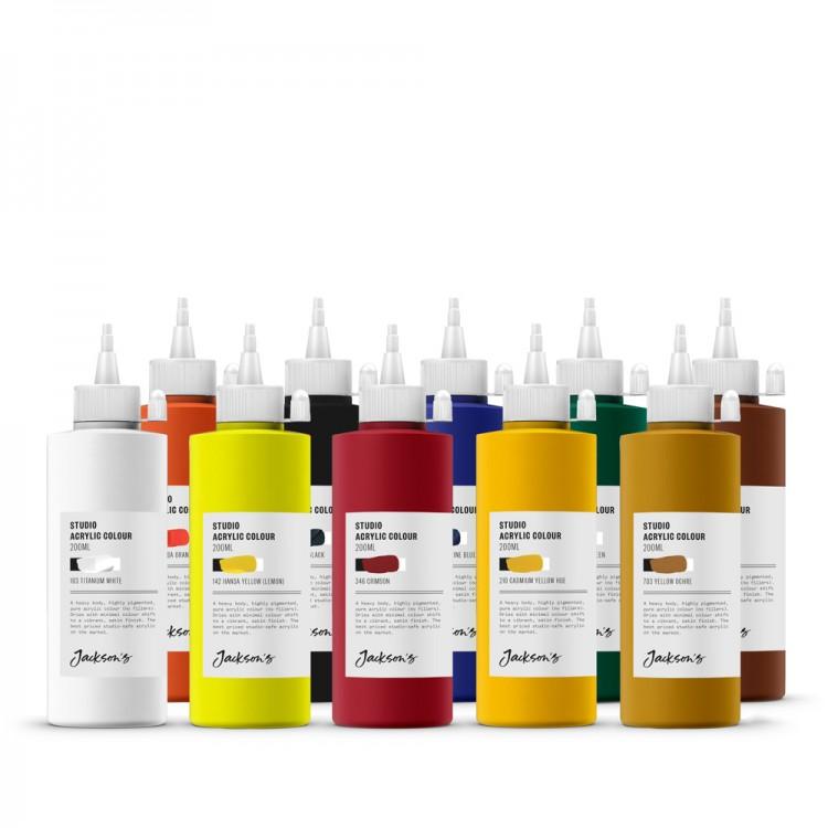 Jackson's : Studio Acrylic Paint : 200ml : Set of 10