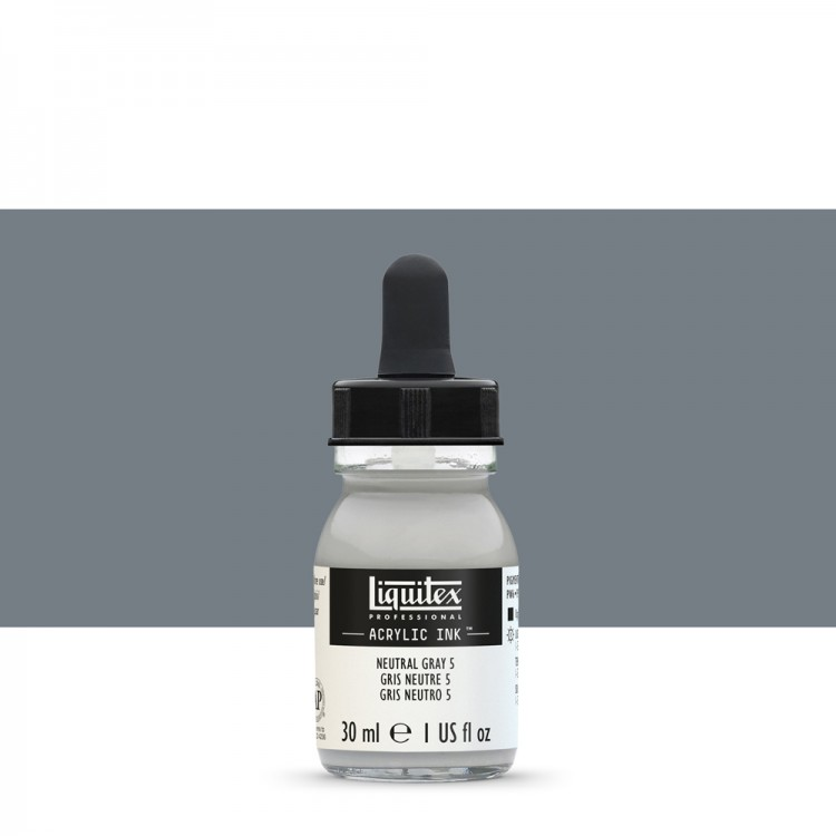 Liquitex : Professional : Acrylic Ink : 30ml : Neutral Grey 5