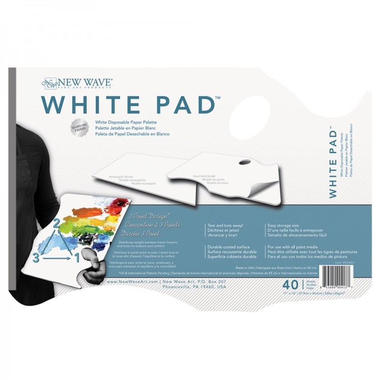 New Wave : White Pad Disposable Paper Palette : Hand Held
