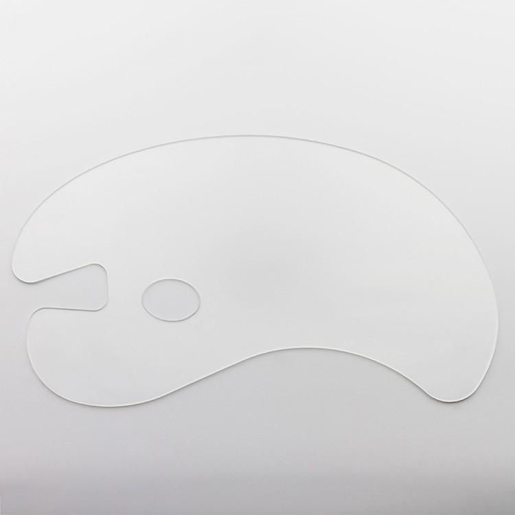 JAS : Transparent Acrylic Kidney Palette : 25x43cm 3mm thick