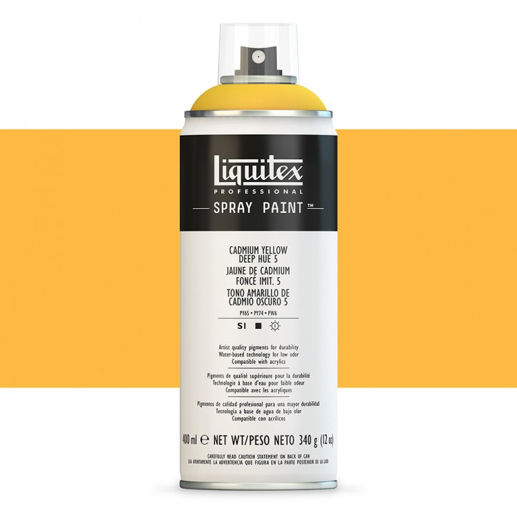 Liquitex : Professional : Spray Paint : 400ml : Cadmium Yellow Deep Hue 5 : By Road Parcel Only