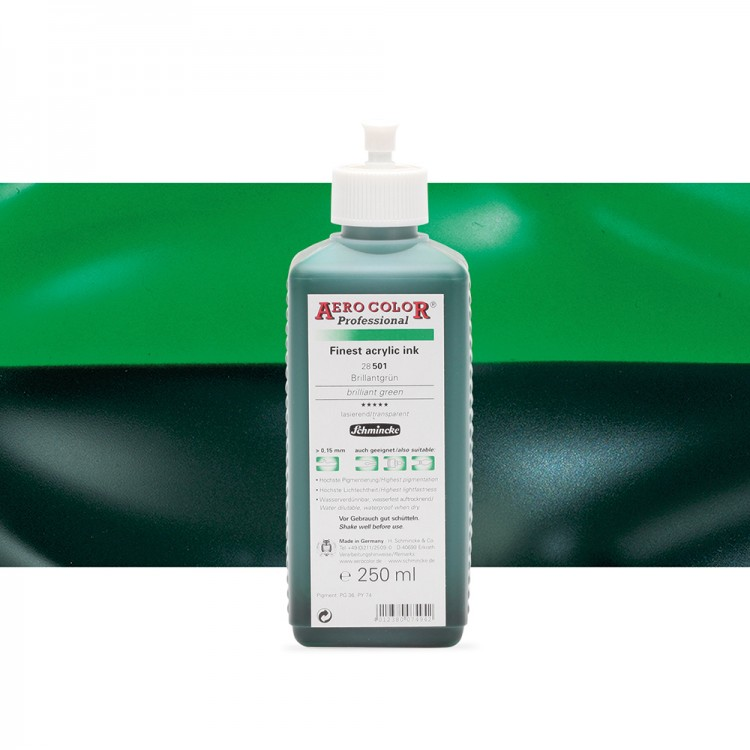 Schmincke : Aero Color Finest Acrylic Ink : 250ml : Brilliant Green