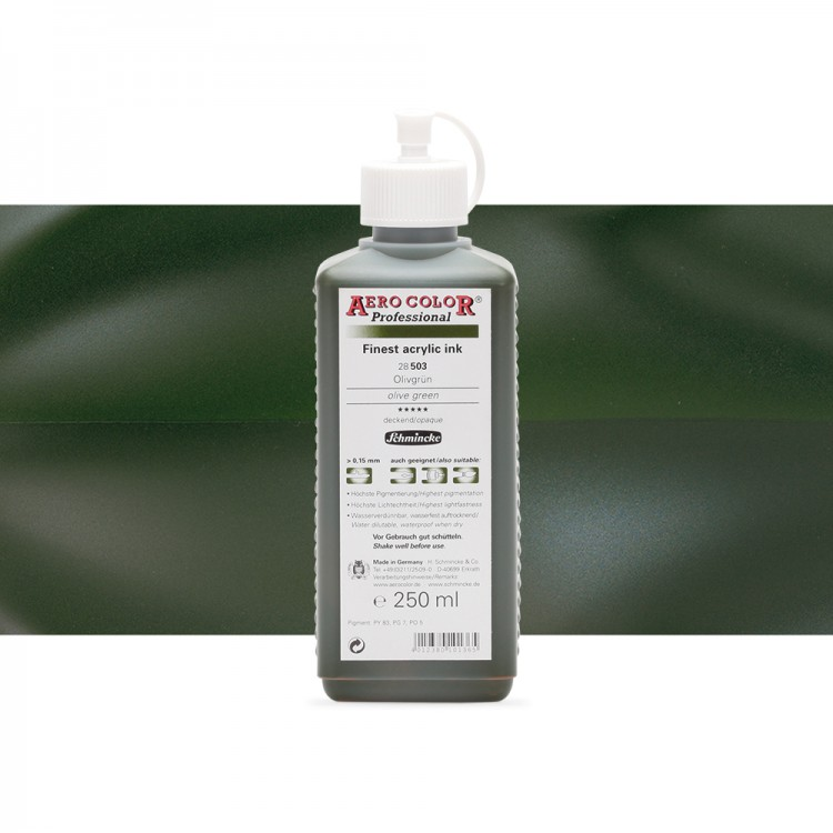 Schmincke : Aero Color Finest Acrylic Ink : 250ml : Olive Green