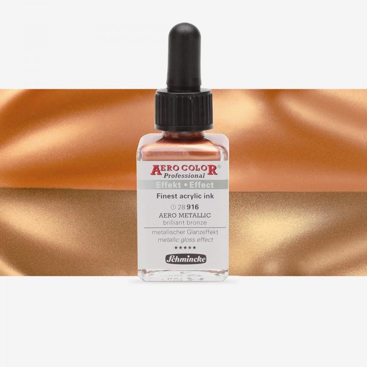 Schmincke : Aero Color Finest Acrylic Ink : 28Ml : Aero Metallic Brilliant Bronze