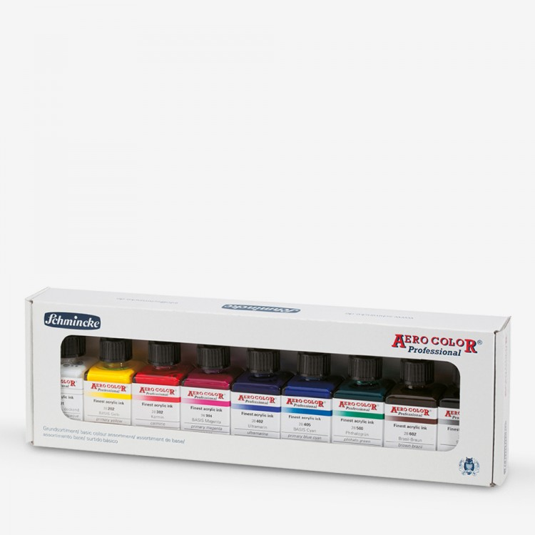 Schmincke : Aero Color Finest Acrylic Ink : Basic Set : 9x28ml