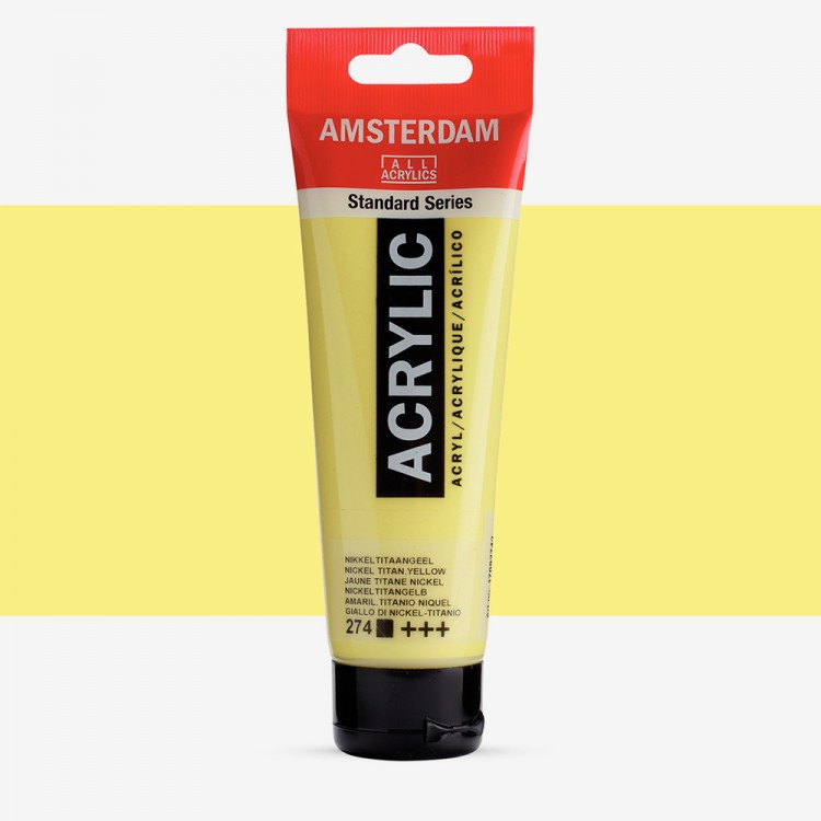 Royal Talens : Amsterdam Standard : Acrylic Paint : 120ml : Nickel Titanium Yellow