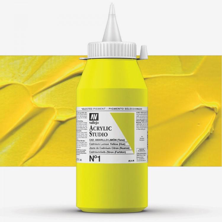 Vallejo : Studio Acrylic Paint : 1000ml : Cadmium Lemon Yellow (Hue)