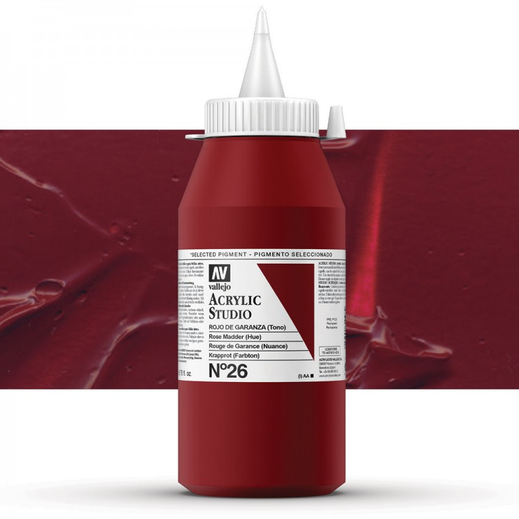 Vallejo : Studio Acrylic Paint : 1000ml : Rose Madder Hue (Madder Red Hue)