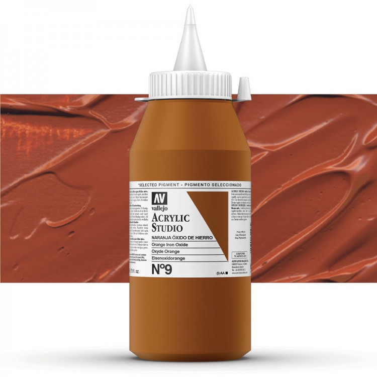 Vallejo : Studio Acrylic Paint : 1000ml : Orange Oxide (Mars Orange)