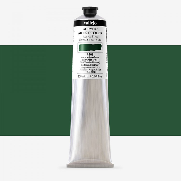 Vallejo : Artist Acrylic Paint : 200ml Tube : Sap Green (Hue)