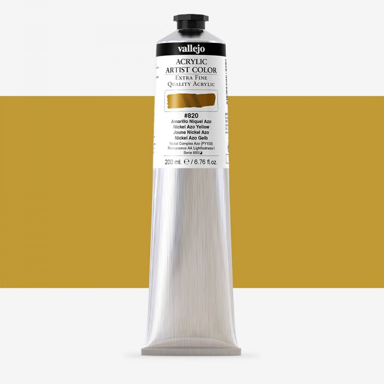Vallejo : Artist Acrylic Paint : 200ml Tube : Nickel Azo Yellow