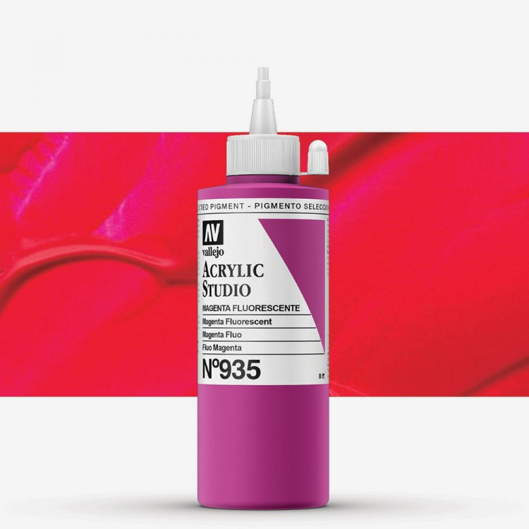 Vallejo : Studio Acrylic Paint : 200ml : Magenta Fluorescent