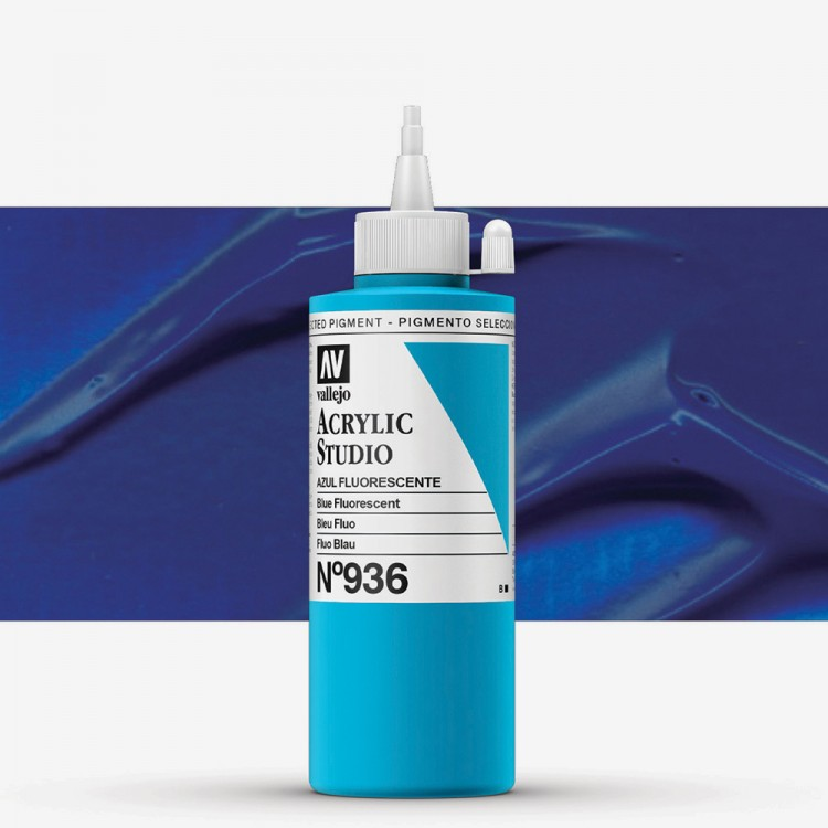 Vallejo : Studio Acrylic Paint : 200ml : Blue Fluorescent