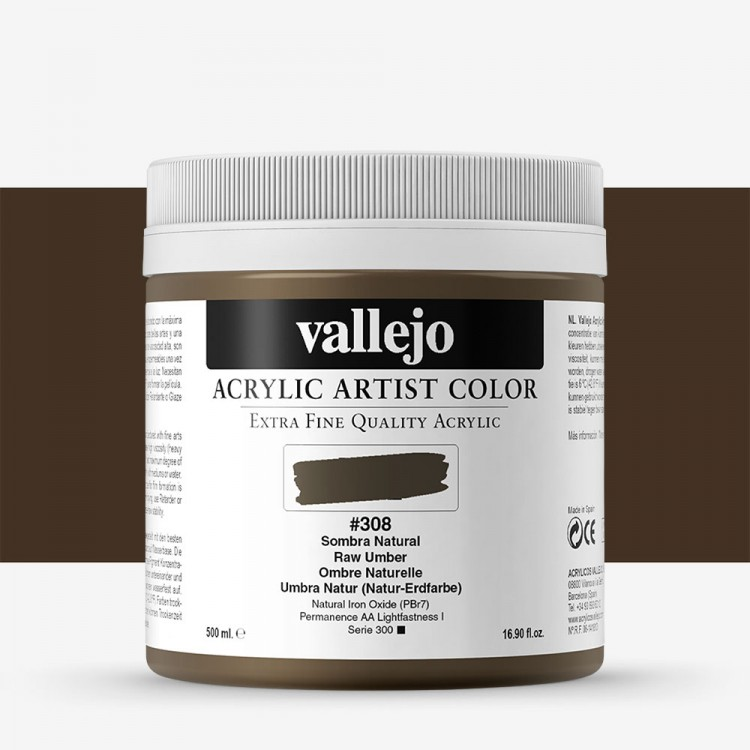 Vallejo : Artist Acrylic Paint : 500ml Pot : Raw Umber