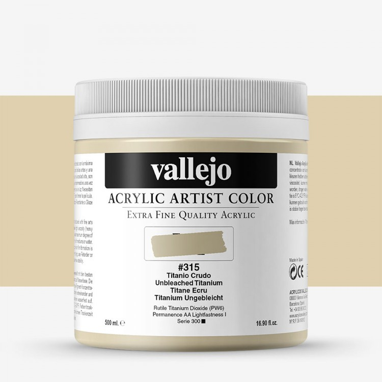 Vallejo : Artist Acrylic Paint : 500ml Pot : Unbleached Titanium