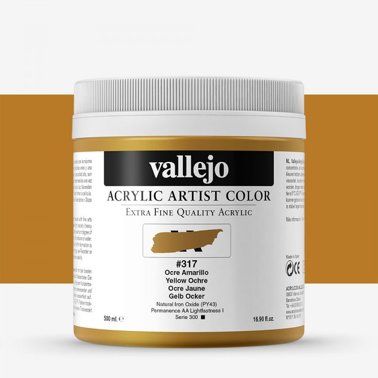 Vallejo : Artist Acrylic Paint : 500ml : Pot : Yellow Ochre