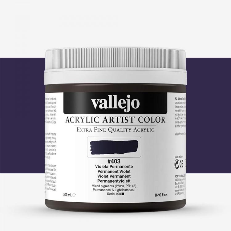 Vallejo : Artist Acrylic Paint : 500ml Pot : Permanent Violet