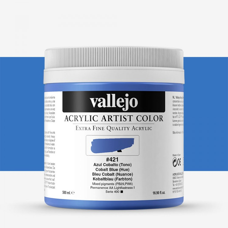Vallejo : Artist Acrylic Paint : 500ml Pot : Cobalt Blue Hue