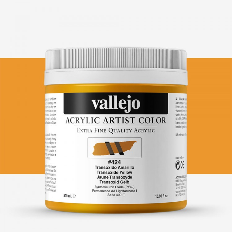 Vallejo : Artist Acrylic Paint : 500ml : Transoxide Yellow
