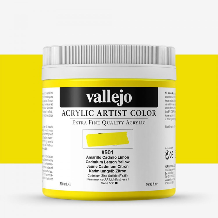 Vallejo : Artist Acrylic Paint : 500ml Pot : Cadmium Lemon Yellow