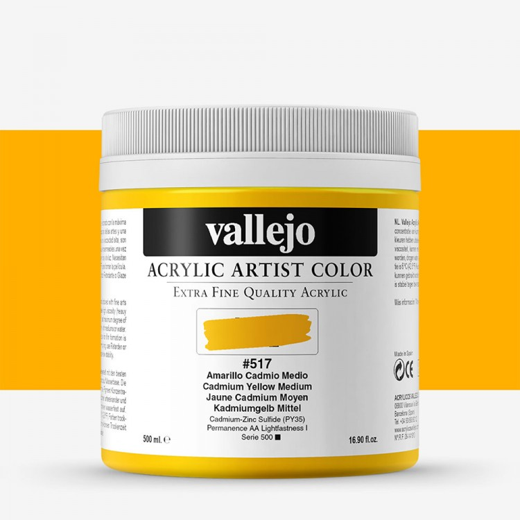 Vallejo : Artist Acrylic : 500ml Pot : Cadmium Yellow Medium