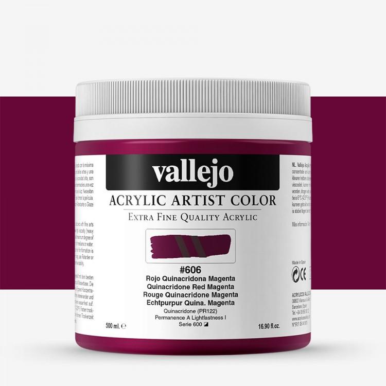 Vallejo : Artist Acrylic Paint : 500ml Pot : Quinacridone Red Magenta