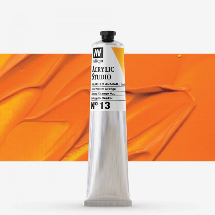 Vallejo : Studio Acrylic Paint : 58ml : Azo Yellow Orange